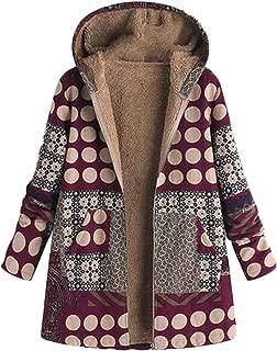 Soluo Womens Winter Warm Outwear Print Hooded Vintage Oversize Jackets Pockets Parka Flannel Lining Coats