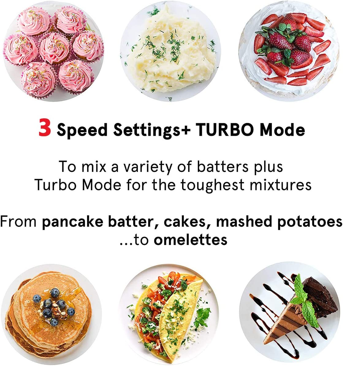 Cord /& Attachments Storage Function 4 Accessories and Easy Eject for Whipping Mixing Cookies MOSAIC 3 Speed Electric Hand-held Mixer with Turbo Hand Mixer Dough Brownies Cakes