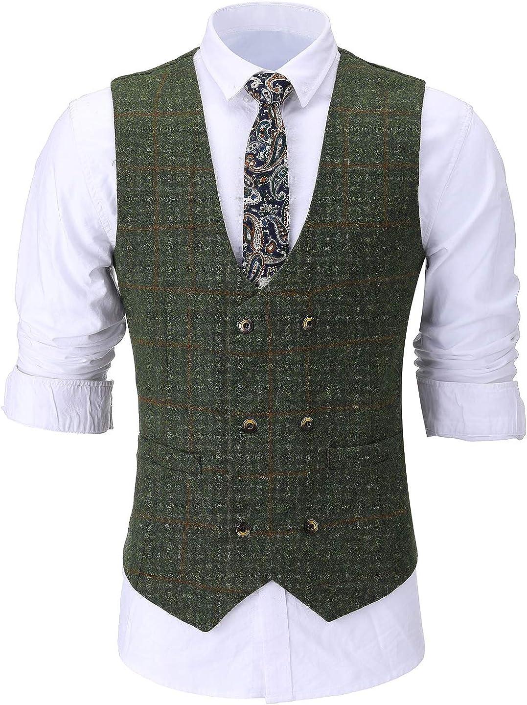 Mens Classic Tweed Wool Suit Vest Double-Breasted Slim Fit Waistcoat for Wedding Groomsmen