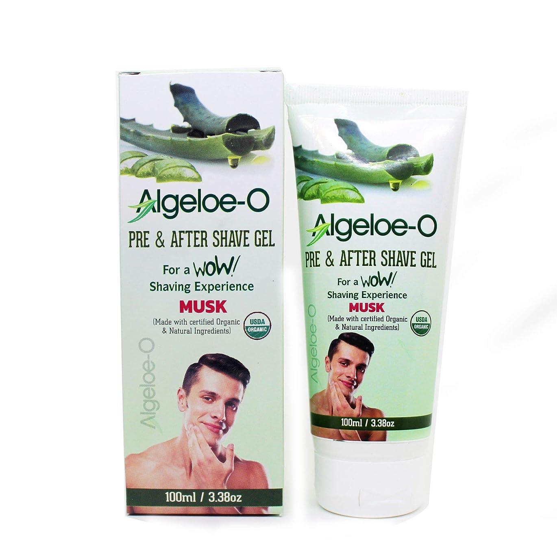 機関多様なためにAloevera Pre And After Shave Gel - Algeloe O Made With Certified USDA Organic And Natural Ingredients - Musk 100 ml (3.38 Oz.)