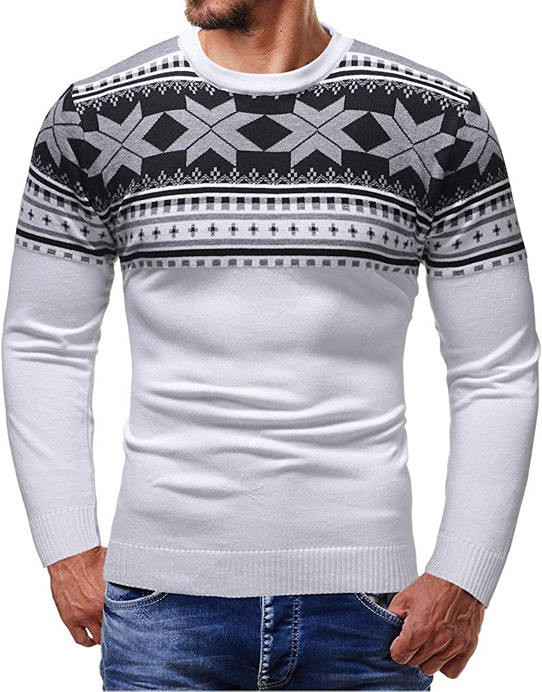 Men Autumn Winter O-Neck Printed Long Sleeves Knitted Christmas Pullover Sweater Outwear Blouse Top