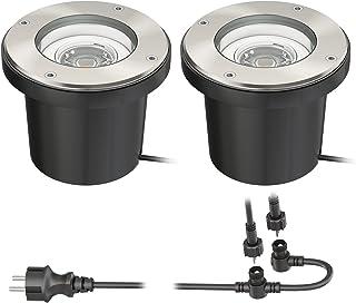 ledscom.de Ground recessed spot BOS para exterior giratorio acero inoxidable redondo IP67 150mm Ø incl. 5W lámpara LED 300lm blanco cálido 2pcs set