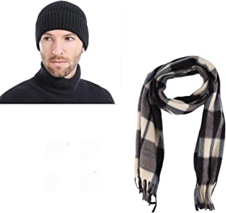 GRAPPLE DEALS Combo of Men's Wool Knitted Skull Cap and Checkered Muffler