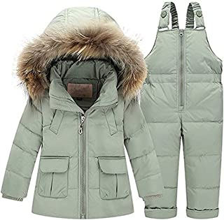 Baby Girls Two Piece Winter Warm Hooded Fur Trim Snowsuit Puffer Down Jacket with Snow Ski Bib Pants Outfits