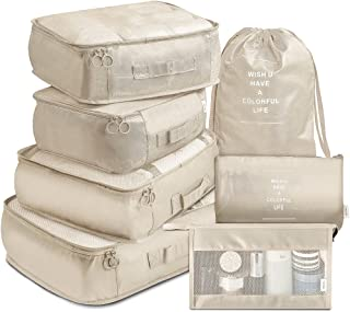 Packing Cubes 7 Pcs Travel Luggage Packing Organizers Set with Toiletry Bag (Beige)
