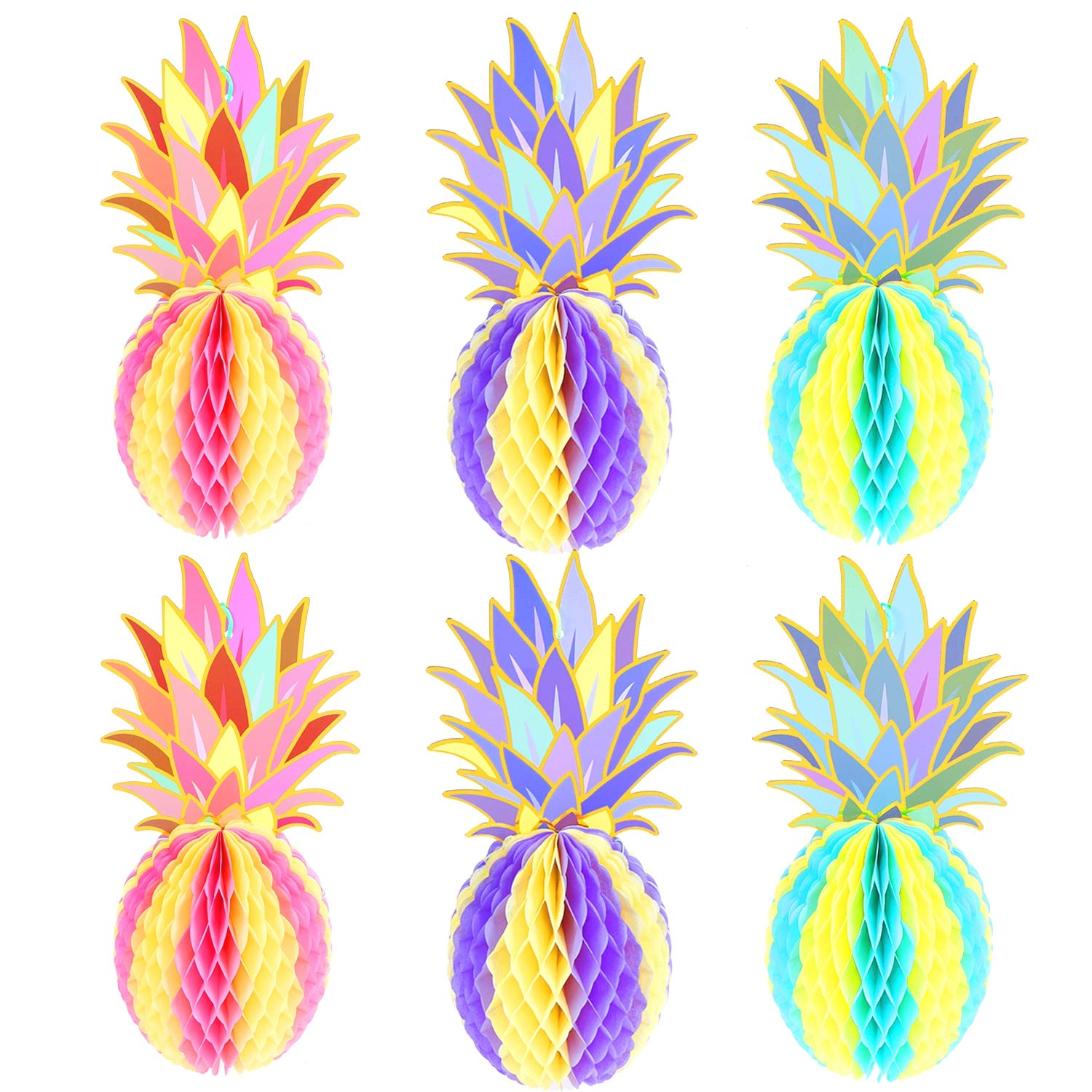 MeiMeiDa 32 Pcs 32 Inch Colorful Pineapple Honeycomb Centerpieces, Tissue  Paper Pineapple Table Hanging Decoration for Tropical Hawaiian Luau Party  ...