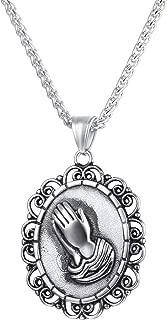 UMtrade Men Women Prayer Necklace Christian Jewelry 18K Gold Plated Praying Hands Medal Pendant