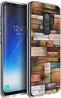 S9 Plus Clear Case,Jolook 360 Body Protection Slim TPU Clear Design Case for Samsung Galaxy S9 Plus - Wood Editing