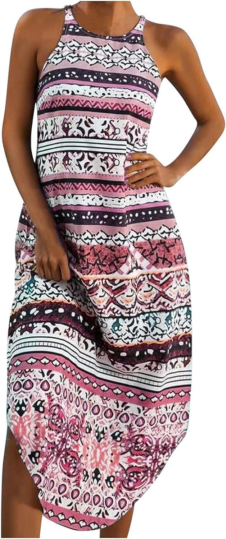 ESULOMP Women's Elegant Sling Maxi Dress Summer Printing O-Neck Halter Neck Casual Long Dress Party Holiday Beach Dress