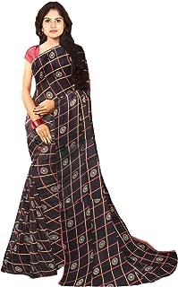 KLM Fashion Mall Women's Fancy Cotton Silk Saree (Black)