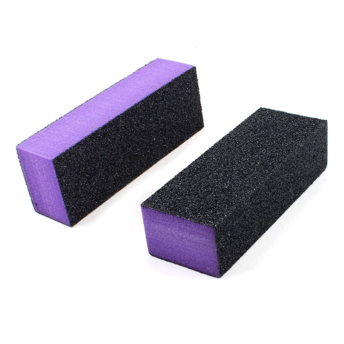 商標雹黒SODIAL(R) 2x黒紫の 4ウェーネイルファイル アートシャイナーポーランドバッファー バフティング