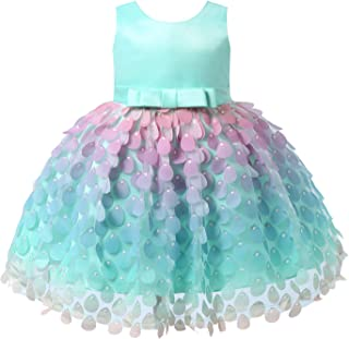Nimiya Infant Baby Girls Sleeveless Colorful Water Drop Shaped Applique Mermaid Mesh Tutu Princess Dress