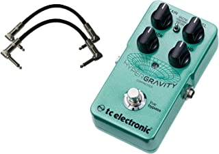 TC Electronic HyperGravity Compressor Pedal with a Pair of Pedalboard Patch Cables