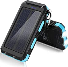 Solar Charger, 20000mAh Portable Outdoor Waterproof Solar Power Bank, Camping External Backup Battery Pack Dual 5V USB Por...