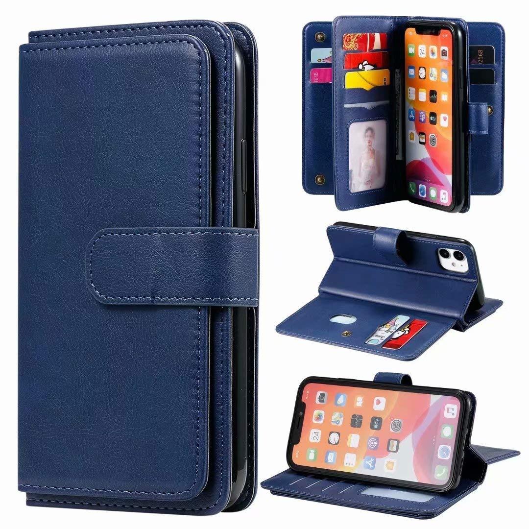 Funda para teléfono móvil iPhone 12 de 6,7 pulgadas compatible con iPhone 12 de 6,7 pulgadas, funda tipo libro, de piel sintética, con tapa, con función atril, color azul: Amazon.es: Juguetes y juegos