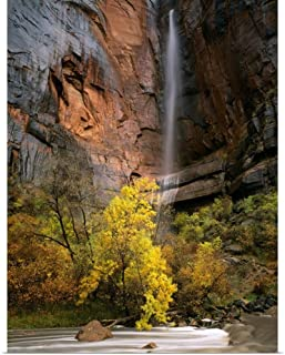 GREATBIGCANVAS Poster Print Zion National Park, Utah, Waterfall pours Over Cliff Above Virgin River by Scott T. Smith 30