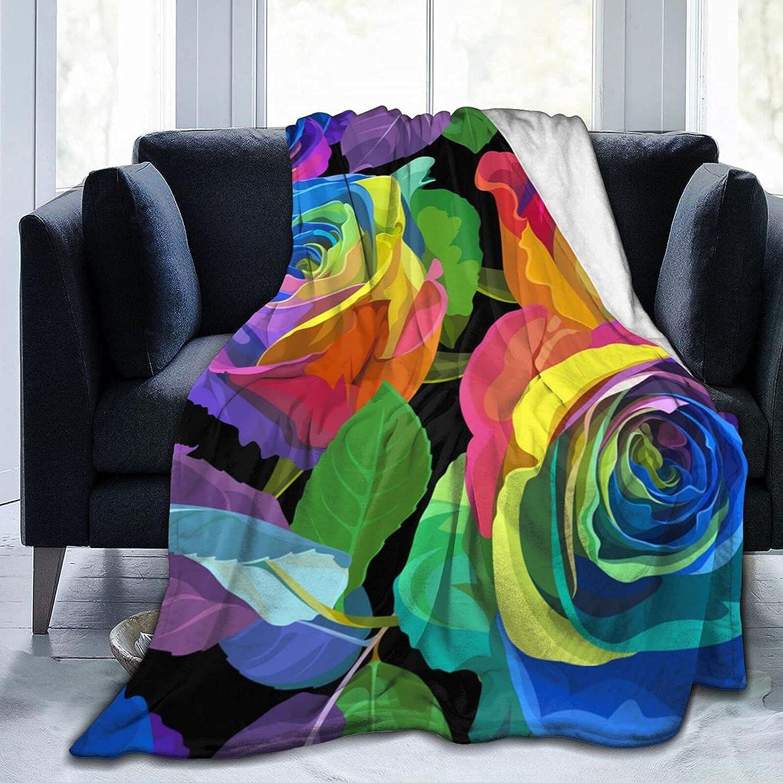 Blanket 70% OFF Outlet Fleece Blankets Multicolored Ranking TOP13 Roses Outdoor Blanke Indoor