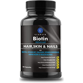 G-GLOWSIK BIOTIN MAXIMUM STRENGTH 10000 mcg (90- CAPSULES) with AMINO ACIDS & CALCIUM FOR HAIR, NAILS AND SKIN