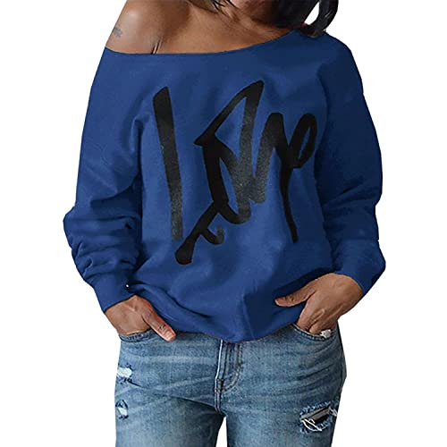 0f7111b9b3d Womens Plus Size Off Shoulder Pullover Sweatshirt Love Wifey Letter Printed  Tops Shirts