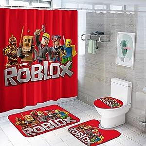 4Pcs Anime Game Shower Curtain Set with Non-Slip Rug, Toilet Lid Cover and Bath Mat, Bath Curtain Set,Shower Curtains Set with 12 Hooks for Home Bathroom Decor
