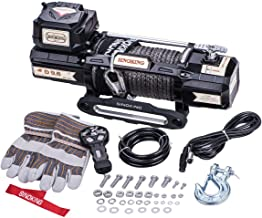 Sinoking 12VDC 9600LB/4354kg Waterproof Electric Winch, Off-Road Winch with 3/8″85′(feet) UHMPE Synthetic Rope, Innovative Wireless Remote Controller