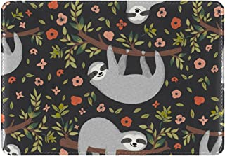 Mydaily Cute Sloth On Tree Floral Leather Passport Holder Cover Case Protector