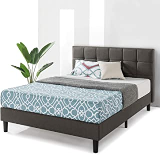 Best Price Mattress Queen Frame Zoe Upholstered Platform Beds with Tufted Headboard and Wooden Slats Support (No Box Spring Needed), Gray