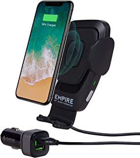 Empire of Electronics Wireless Car Charger Mount - Automatic 10W Qi Fast Charging - Mobile Smartphone Air Vent Holder - Compatible with iPhone Xs/XS Max, XR, X/8/8 Plus, Samsung Galaxy Note S9/S8/S7
