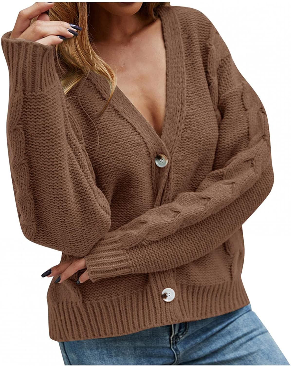 FGDJEE Cardigan Sweaters for Women Open Front Button Loose Fit Short Deep V Knitted Coat Solid Color Cardigan Outwear