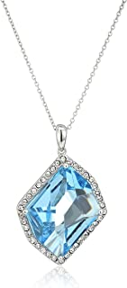 """Sterling Silver Swarovski Aquamarine Crystal and Clear Crystal Fancy Pendant Necklace, 18"""""""