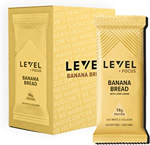 Level Foods - 12 Banana Bread 14g Pure Protein Bars, High Protein, Nutritious Low Carb Snacks, Healthy Food to Support Energy, Low Sugar, Gluten-Free