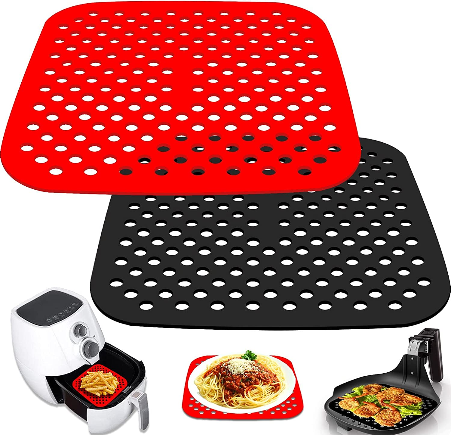 Liangzhou 2 Pack Reusable Air Fryer Liners, 7.5 Inch or 8.5 Inch Square Non-Stick Air Fryer Mat, Perforated Air Fryer Silicone Accessories, BPA Free and Easy to Clean