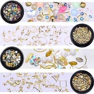 45c0c444f NICOLE DIARY Gold Nail Rivet Studs Glitter Crystal Rhinestones White Flat  Bottom Leaf Star Moon Shell