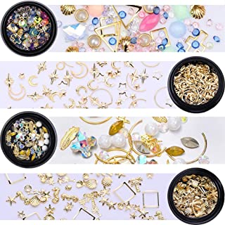 Nicole Diary Gold Nail Rivet Studs Glitter Crystal Rhinestones White Flat Bottom Leaf Star Moon Shell Charms Accessaries Diy 3D Nail Art Decoration (4 Boxes)