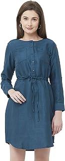 109 F Women's Cotton Navy Solid Dress