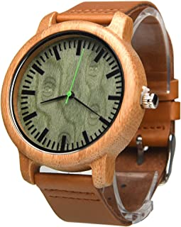 Custom Engraved Wooden Bamboo Watches,Ablibi Cowhide Leather Strap Quartz Wristwatches for Men Women Green Sandalwood Dial in Gift Boxes