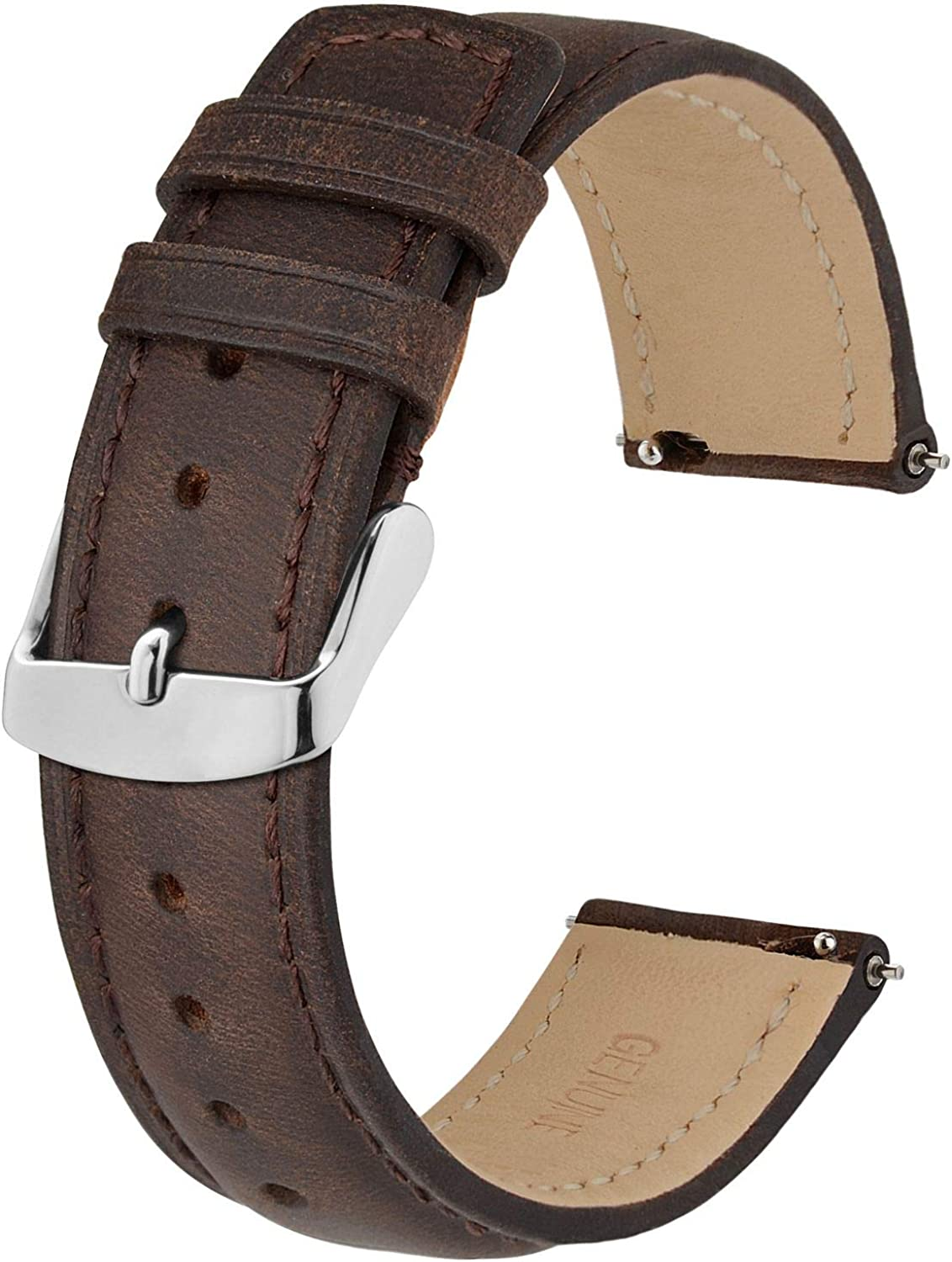 Daily bargain Ranking TOP1 sale BISONSTRAP Watch Strap with Quick Release Leather Replace Retro