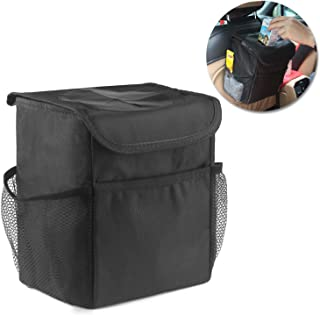 KMMIN Car Trash Can, Vinyl Leakproof Vehicle Trash Can with Lid and Storage Pockets Sturdy Odor Blocking Waterproof Car Trash Bag for Trucks Vans SUV to Keep Your Car Clean (1.85gal)