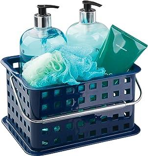 InterDesign Basic corbeille rangement, petit panier salle de bain en plastique pour accessoires de douche et soins, bleu m...