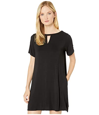 Donna Karan Modal Spandex Jersey Short Sleeve Sleepshirt (Black) Women