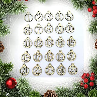 Baost 1-25 Vintage Wooden Christmas Countdown Advent Calendar Number DIY Gift Tags Christmas Countdown Tags Halloween Hanging Decor for Wedding Party Favor Label Cards Decoration Wood
