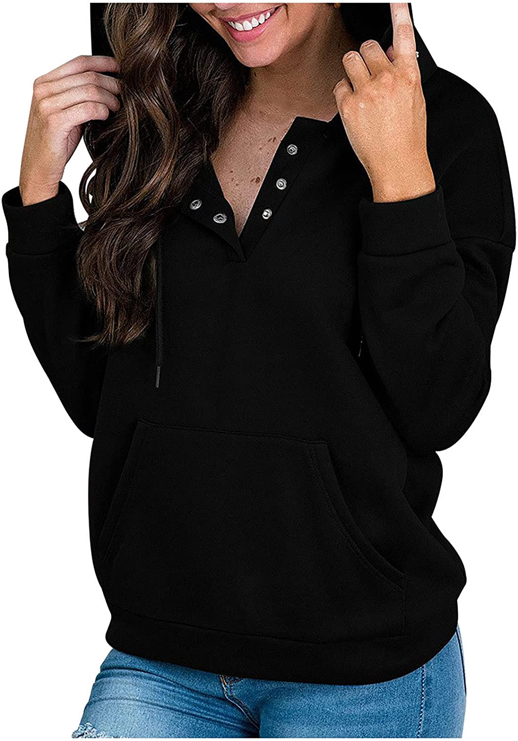 Women's Plus Size Active Hoodie Button up Long Sleeve Sweatshirt with Pocket