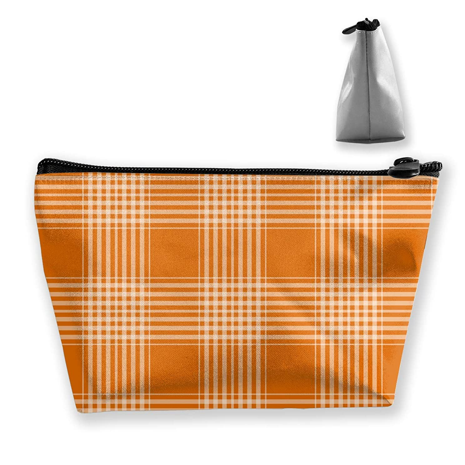 シャトル聞きます危機台形 レディース 化粧ポーチ トラベルポーチ 旅行 ハンドバッグ オレンジ格子縞 コスメ メイクポーチ コイン 鍵 小物入れ 化粧品 収納ケース