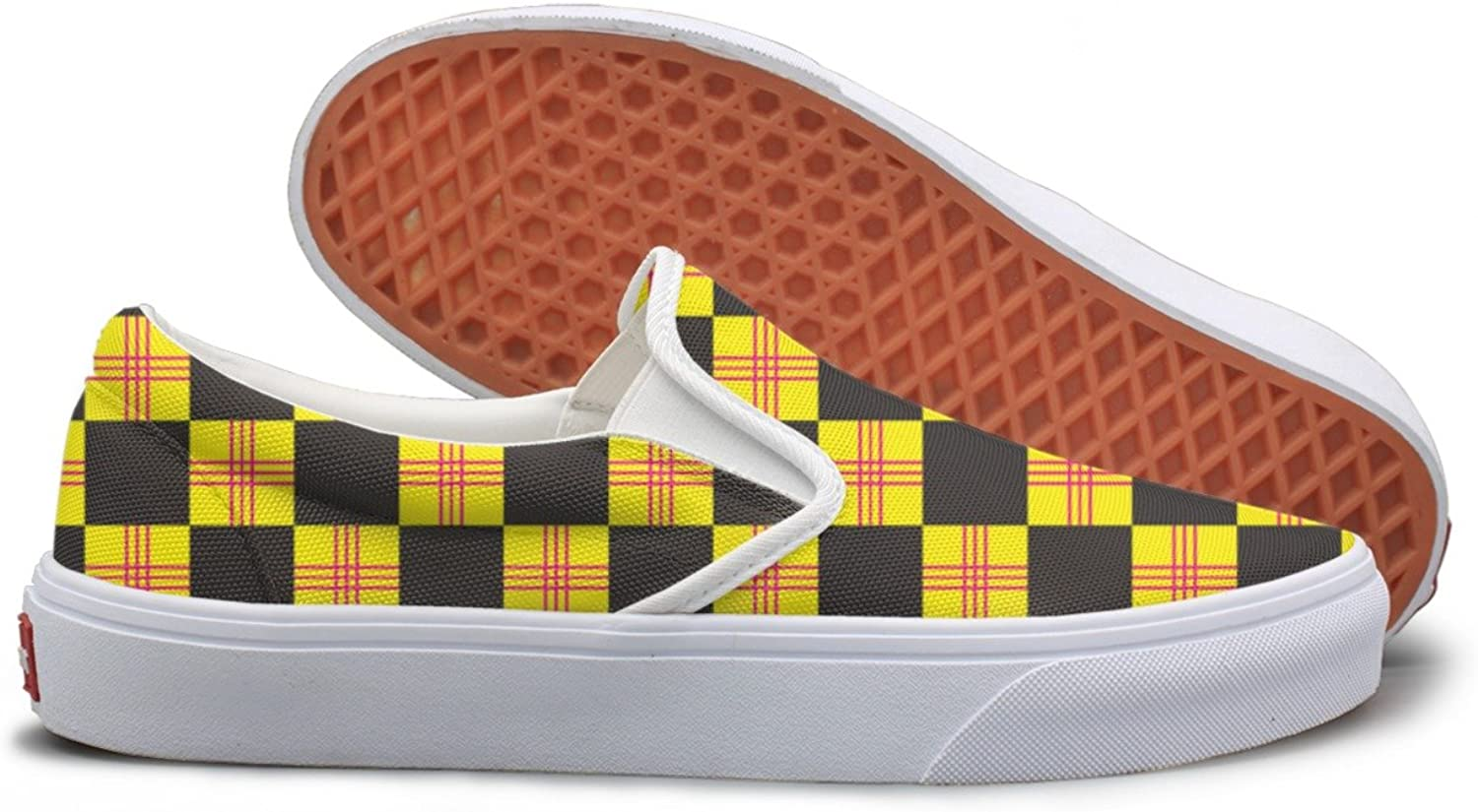 Lalige Checkerboard Yellow And Black Womens Printed Graphics Canvas Slip-on Walking shoes