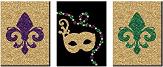 Big Dot of Happiness Mardi Gras - Fleur de Lis Wall Art, New Orleans Decor and Masquerade Themed Room Home Decorations - 7.5 x 10 inches - Set of 3 Prints