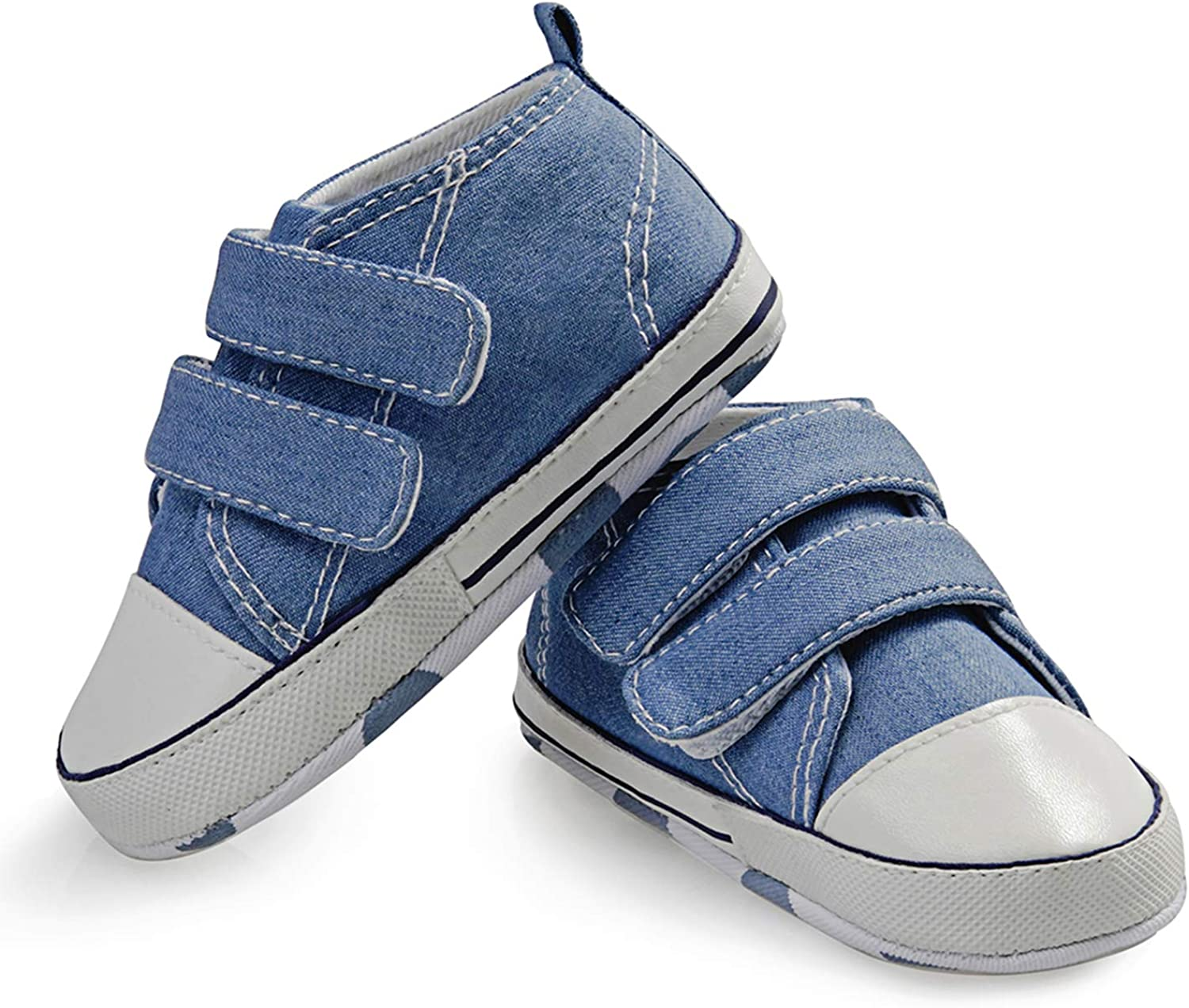MDCIHOL Baby Girls Boys Soft Sole Two Straps Sneakers First Walkers Shoe
