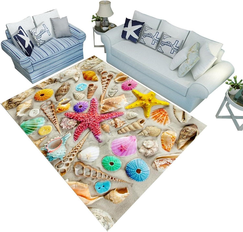 descuentos y mas LiuJF Alfombra 3D Playa Mar Moluscos Patrón De Impresión De De De La Habitación De Los Nios Sala De Té Mesa Pasillo Alfombra Varios Estilos (Color   A, Talla   80  120CM)  bienvenido a orden