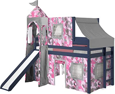 JACKPOT! Princess Low Loft Bed with Slide Pink Camo Tent and Tower, Loft Bed, Twin, Blue