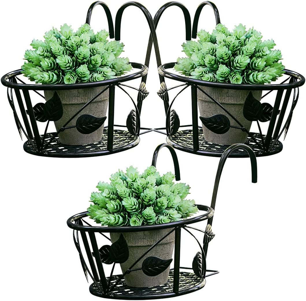 Amazon Com Tosnail 3 Pack Hanging Railing Planter Flower Pot Holder Plant Holder For Indoor And Outdoor Use Black Garden Outdoor