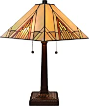 Amora Lighting Tiffany Style Table Lamp Banker Mission 23